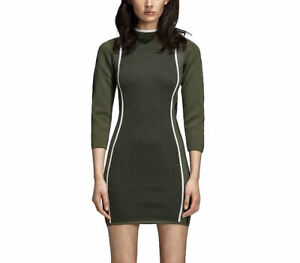 adidas Originals Women's Turtle Neck Knit Logo Sleeves Bodycon Dress Olive Green