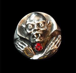Bronze Nosferatu Vampire Ring Custom Size Red Crystal German Horror Film R-164b