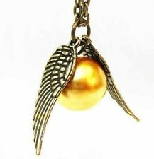 New Harry Potter Golden Snitch Wing Golden Quidditch Pendant Necklace Chain