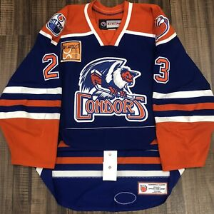Game Worn CCM Authentic Bakersfield Condors Used AHL Hockey Jersey Blue Home 56