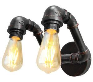 Vintage Industrial Rustic Twin Waterpipe Wall Light Metal Retro Lamp M0191
