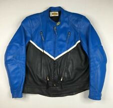 BATES Heavy Vented Cafe Racer Blue & Black Leather Motorcycle Jacket Fits L / XL