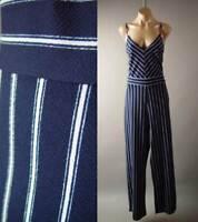 Navy Blue White Stripe Nautical Sailor Wide Leg Pant 275 mv Jumpsuit 1XL 2XL 3XL
