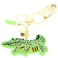 Pave Crystal Accent 3D Stuffed Pillow Alligator Crocodile Keychain Key Chain