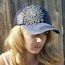 Womens Trucker Style Navy Blue Bling Rhinestone Flower Cap Hat NEW Olive & Pique