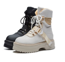 Women's Ankle Boots Lace Up Platform Shoes Punk Lace Up Round Toe Leather