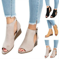 Women's Peep Toe Ankle Buckle Wedge Heels Sandals Ladies Roma Casual Shoes New
