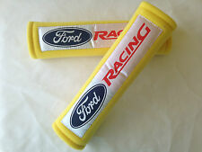 Yellow Ford Racing Soft Car Seat Belt Cover Shoulder Harness Pads