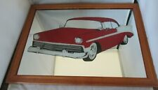 Man Cave Mirror 1956 Chevrolet Bel Air Wood Framed