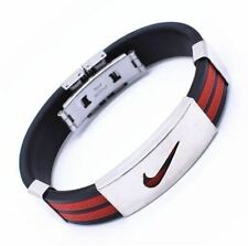 Red Nike Sports Stainless Steel  Silicone Wristband Bracelet