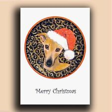 Greyhound Whippet painting Christmas cards glittery pack of 6 by Suzanne Le Good