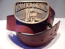 Vintage 70s Raleigh Lights Belt Buckle Brown Harness Cowhide Bench Made Leather