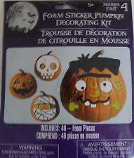 New Halloween Pumpkin Decorating Kit Makes 4 ~ Foam Sticker  FREE SHIPPING