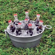Miniature Tub of Soda Pop Bottles on Ice 17411 Fairy Garden Dollhouse Terrarium