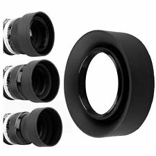 52mm 3 Stage Collapsible Rubber Lens Hood Sun Shade For Canon Nikon Sony Camera