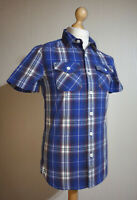 "Superdry Short Sleeve Check ""Washbasket"" Shirt Mens Size S Blue/White Cotton"