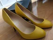 J Crew Mona Heels Shoes Pumps Yellow Leather Sz 6.5 M NIB New Boxed J.Crew $198