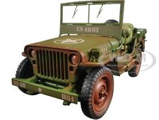 US ARMY WWII JEEP GREEN 1/18 WEATHERED VERSION BY AMERICAN DIORAMA 77404 A