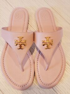 NEW Tory Burch Jolie Flat Thong Pebbled Leather Sandal Seashell Pink 7