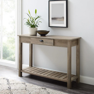 Console Table 48 in. Pre-Assembled Drawers Rectangle Wood Gray Wash
