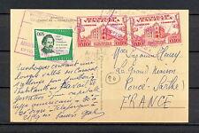 VENEZUELA 0464 AIR MAIL POSTAL CARD 1961  Caracas to France SEE 2 PHOTOS