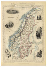 Sweden Norway Scandinavian Peninsula illustrated map John Tallis ca.1851