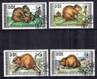 Animaux Castors Mongolie (39) complète 4 timbres oblitérés