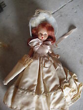 """Vintage 1950s Hard Plastic Story Book Girl Doll in White Outfit 6"""" Tall"""