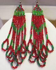 """New listing Christmas Green & Red 3"""" Seed Bead Earrings Native Style Hand Beaded By Me Usa"""