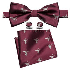 Dino Power Embroidered Burgundy Bow tie Pocket Square and Cufflinks Set