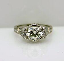 Platinum Engraved Vintage style  Engagement Ring Size 6  Round K Si2 Diamond