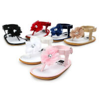 Toddler Newborn Baby Girls Leather Floral Pearl Princess Sandals Shoes Prewalker
