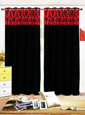 Eyelet curtains Ring Top Fully Lined Pair Ready made DAMASK curtains 9 COLOURS