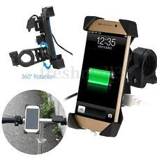 3.5''-7'' Adjustable Phone GPS Holder Motorcycle Handlebar USB Charger Mount