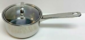 Tramontina Stainless Steel Pot Pan & Glass Lid, 1qt 0.9L, 18/10 stainless steel