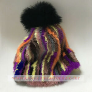 Stretchy Knitted Double 2 sides Real Mink Fur Hat Beanie w Fur Ball - Multicolor