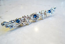 Small slim antique silver blue swarovski crystal alligator hair clip clamp barre