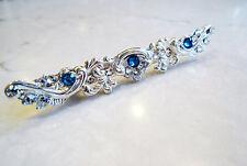 Small slim antique silver blue swarovski crystal alligator hair clip clamp barre