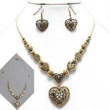 Crystal Heart Shamballa Necklace Set Gold Filigree Slide to Adjust Short/Long