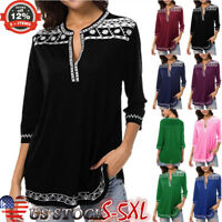 Women 3/4 Sleeve V-neck T Shirt Casual Tunic Tops Blouse Pullover T-shirts S-5XL