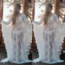 Kaftan Dress Bridal Lace Kimono Wedding Lingerie Honeymoon Maxi Beach Cover Up