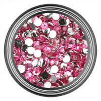 Pink Resin Rhinestone Gem - 2mm 3mm 4mm 5mm 6mm - Flat Back - Nail Art