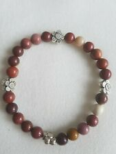 Mookaite Jasper And Tibetian Silver Flower Bead charm stretch Bracelet 6mm
