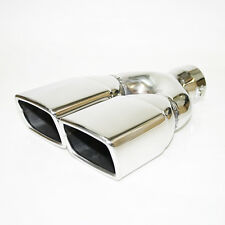 Stainless Steel Exhaust Twin Dual Tailpipe Acoustic Style Racing Tip Muffler