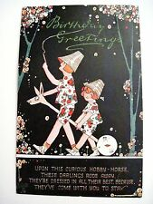 "Vintage ""Tuck"" Postcard ""Happy Land"" Series w/ Birthday Greeting & Hobby Horse *"