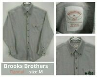 Brooks Brothers 346 Mens M Flannel Shirt Gray Long Sleeve Button Front Cotton EC