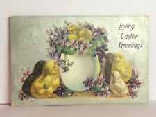 PostCard Loving Easter Greetings Little Chicks Floral Posted 4-?-1909 Vintage