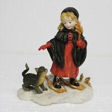 Vintage Lg Roman Girl Cat Snow Shoes Figurine