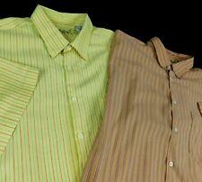 Lot 2 Bamboo Cay Men Yellow Orange Striped Hawaiian Camp Aloha Shirt Sz XXL