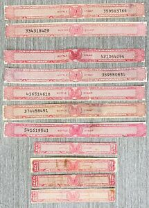 US Internal Revenues: USIR Distilled Spirits Tax Paid Bottle Stamps; 11 Strips